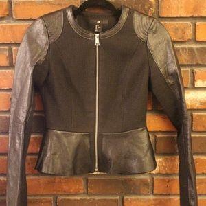 H&M Tweed/Leather Blazer Jacket